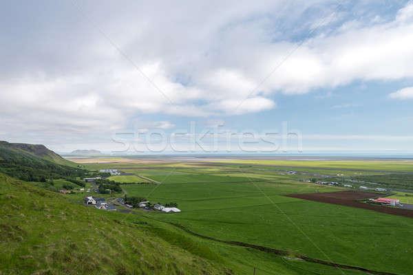 Typisch kust landschap boerderijen zuiden IJsland Stockfoto © 1Tomm