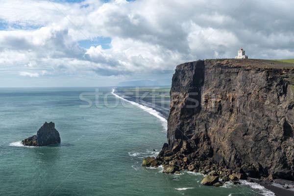Paysage blanche phare dramatique vue eau Photo stock © 1Tomm