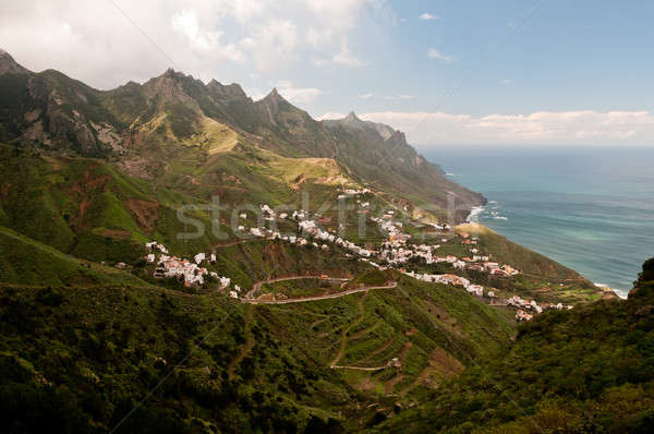 Village on edge of moutain Stock photo © 1Tomm