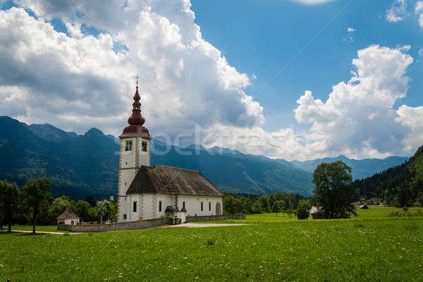 горные Церкви Альпы живописный мнение типичный Сток-фото © 1Tomm