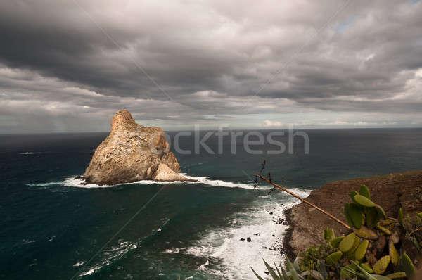 Rock storm foto oceaan sluiten strand Stockfoto © 1Tomm