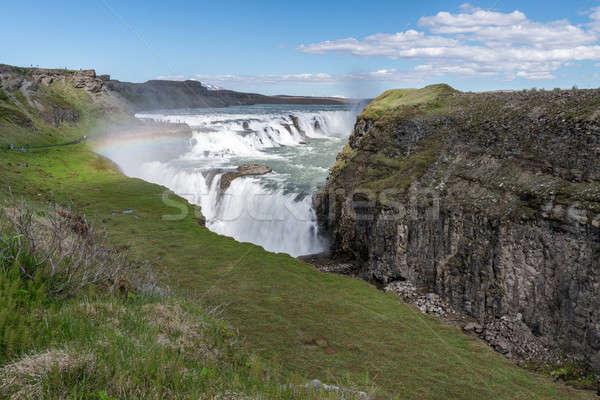 Photo stock: Or · cascade · Rainbow · Islande · eau · nuages