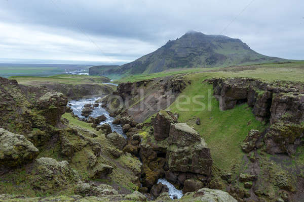 River leads to famous waterfall Skogafoss, Iceland. Stock photo © 1Tomm