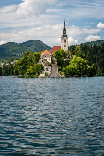 Vertical view of church of Bled Lake, Slovenia. Stock photo © 1Tomm