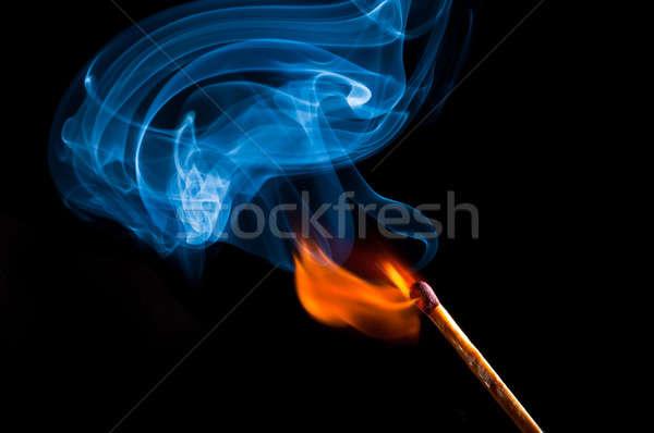 Dymu ognia meczu niebieski Zdjęcia stock © 1Tomm