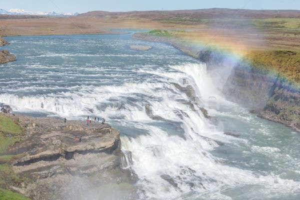 Gouden waterval regenboog IJsland sluiten Stockfoto © 1Tomm