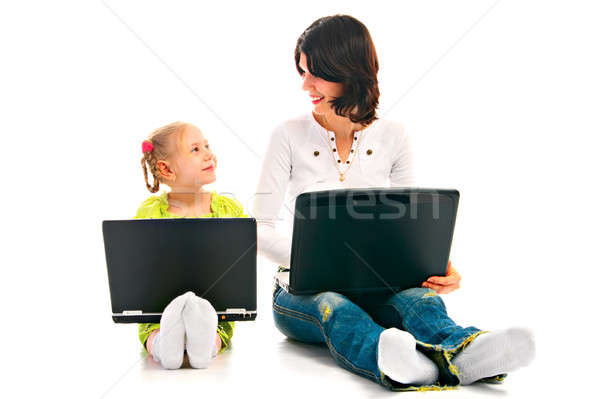 ma and child with laptop Stock photo © 26kot