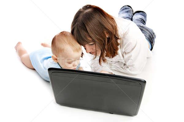 Stock fotó: Boldog · család · laptop · anya · baba · üzlet · család