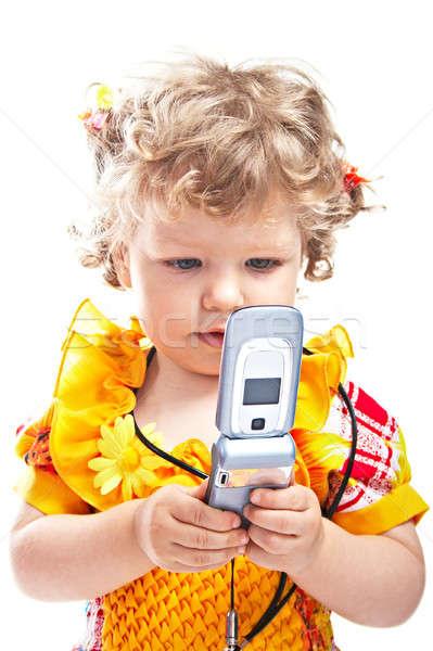 ребенка мобильных телефон небольшой девушки мобильного телефона Сток-фото © 26kot