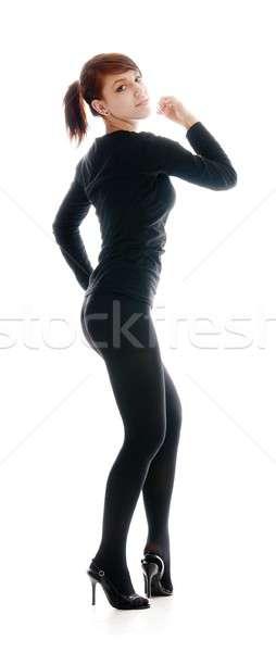 ストックフォト: 体操選手 · 孤立した · 白 · ファッション · 背景 · 美