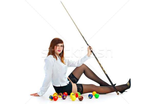 brunette with cue and billiard ball Stock photo © 26kot
