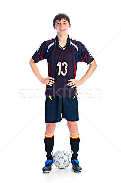 футболист мяча изолированный белый рук человека Сток-фото © 26kot