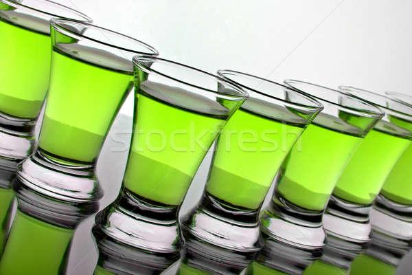 Glas water groene silhouet kleur witte Stockfoto © 26kot