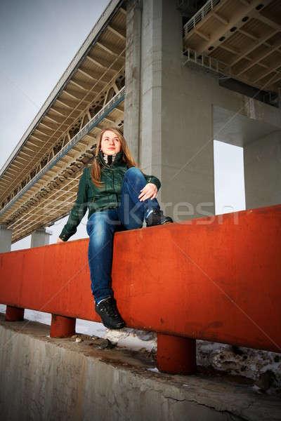 woman sitting on parapet Stock photo © 26kot