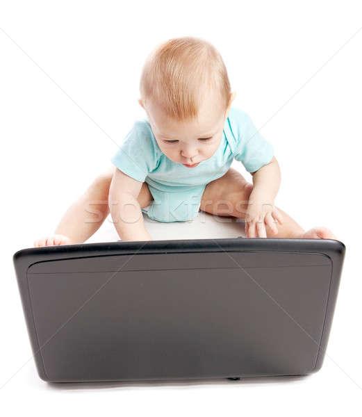 используя ноутбук белый компьютер ребенка лице Сток-фото © 26kot