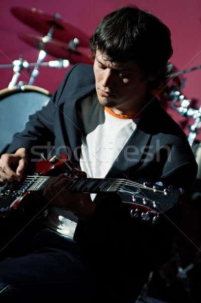 Zene előadó jelenet buli férfi mikrofon Stock fotó © 26kot