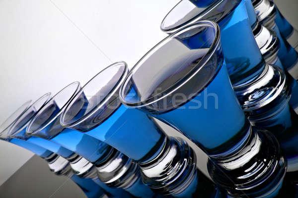 ガラス 水 青 シルエット 色 白 ストックフォト © 26kot