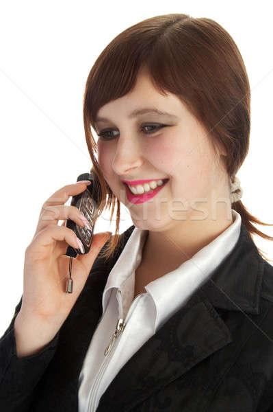Kadın kostüm telefon yalıtılmış beyaz ofis Stok fotoğraf © 26kot