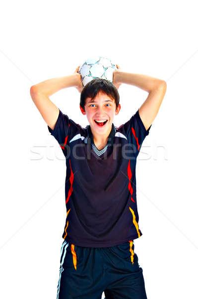 Piłkarz piłka odizolowany biały ręce człowiek Zdjęcia stock © 26kot