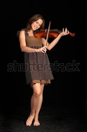скрипач изолированный черный стороны лице женщины Сток-фото © 26kot