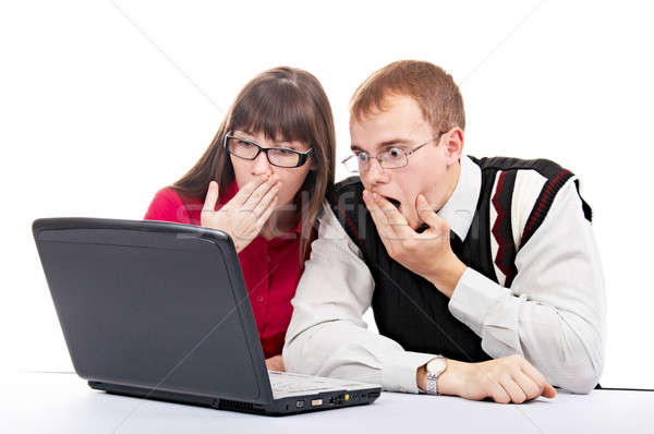 Kantoor twee mensen laptop witte business computer Stockfoto © 26kot