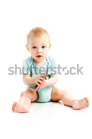 Cute ребенка говорить сотового телефона изолированный белый Сток-фото © 26kot