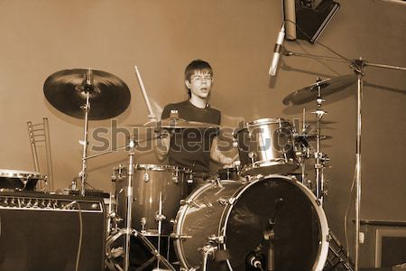 man playing on drum Stock photo © 26kot