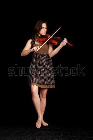 Lány hegedű fiatal lány játszik fekete nő Stock fotó © 26kot