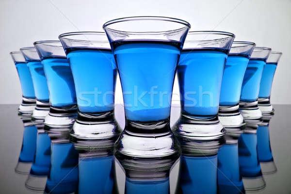 Vidrio agua azul silueta color blanco Foto stock © 26kot