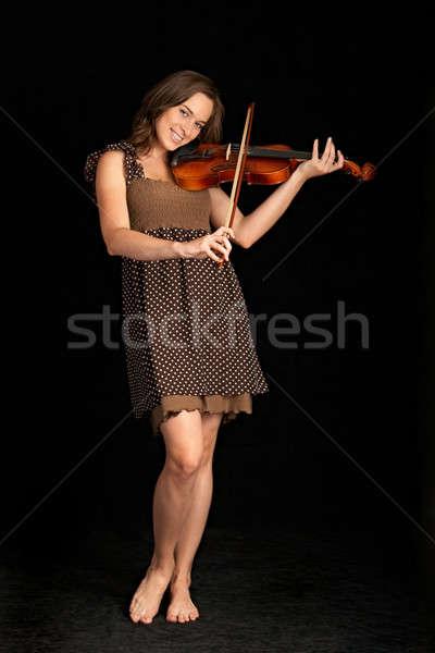 Hegedűművész izolált fekete kéz arc nők Stock fotó © 26kot