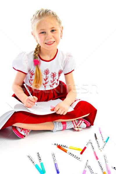 портрет рисунок стороны улыбка счастливым ребенка Сток-фото © 26kot