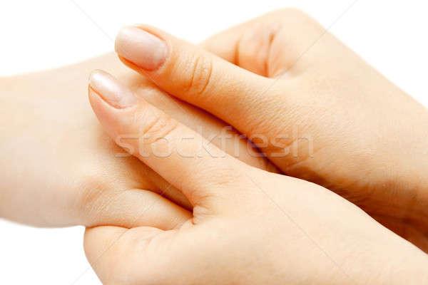Hand massage vrouwelijke palm vingers spa Stockfoto © 26kot