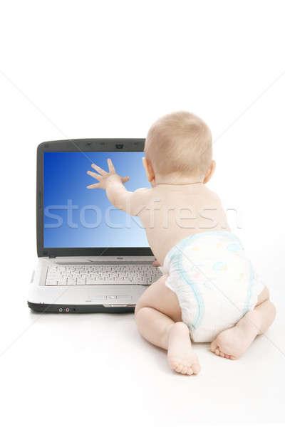 используя ноутбук белый компьютер ребенка ноутбука Сток-фото © 26kot
