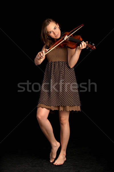Hegedűművész aranyos fekete nő zene kéz Stock fotó © 26kot
