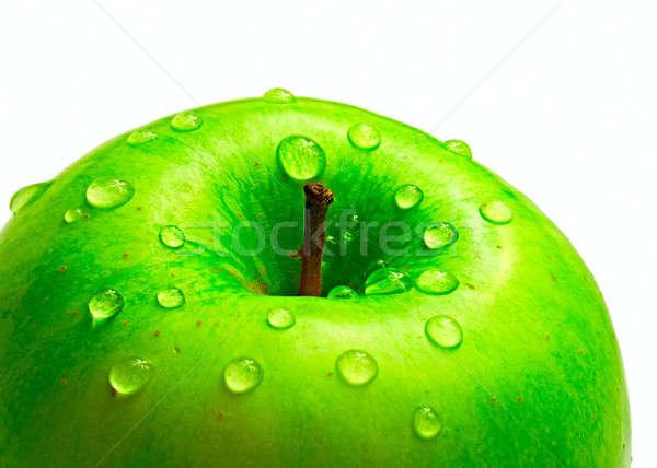 Foto stock: Verde · manzana · caída · agua · aislado · blanco
