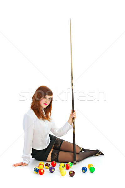 brunette with cue and ball Stock photo © 26kot