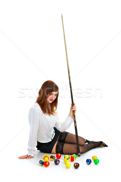 girl with cue and billiard ball Stock photo © 26kot