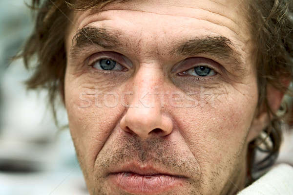 портрет пьяный мужчин глаза человека волос Сток-фото © 26kot