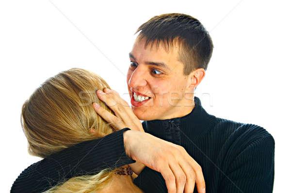 Rettenetes férfi nő izolált fehér fogak Stock fotó © 26kot