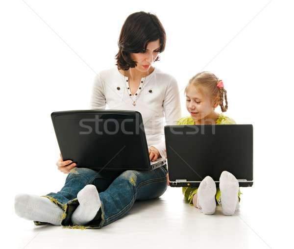 ma and child with laptops Stock photo © 26kot