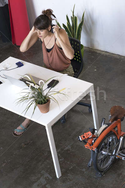 Foto stock: Empresária · trabalhando · laptop · trabalhar · escritório · internet