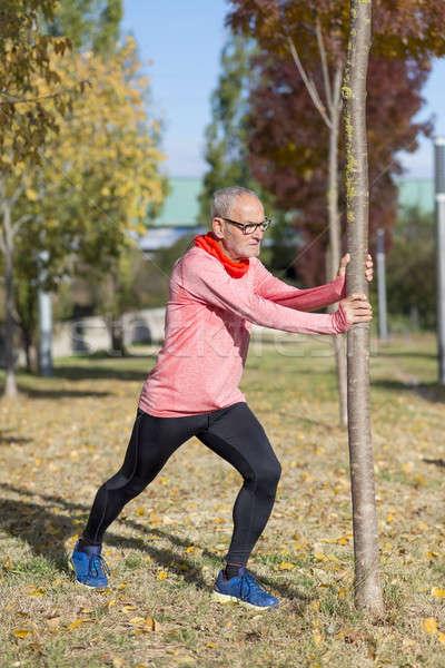 Stockfoto: Senior · man · jogging · park
