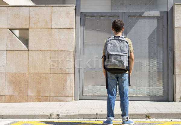 Vrolijk kind rugzak permanente school Stockfoto © 2Design