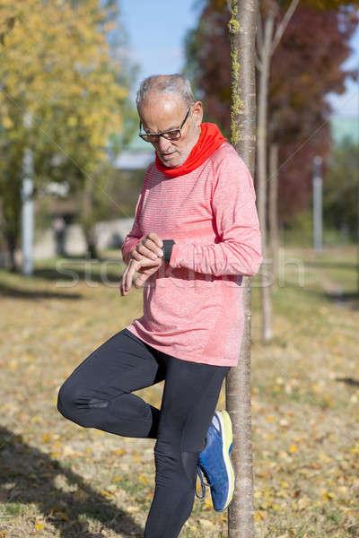 Stockfoto: Senior · runner · man · park