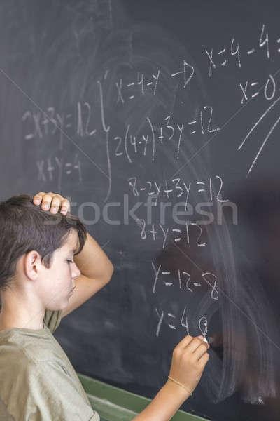 öğrenci sorun tahta okula geri eğitim öğrenci Stok fotoğraf © 2Design
