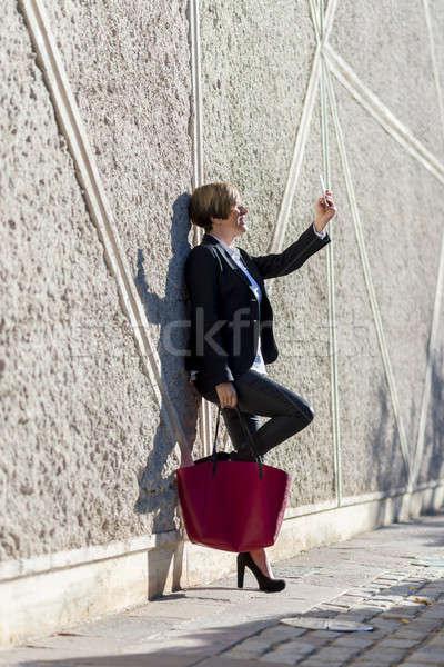 Retrato jovem empresárias terno preto bastante Foto stock © 2Design