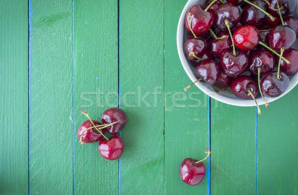 Rijp kersen houten groene tabel houten tafel Stockfoto © 2Design