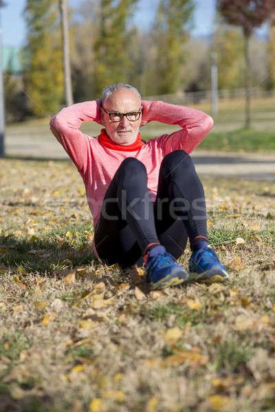 Senior man jogging park Stockfoto © 2Design