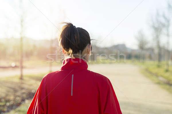 Aktív sportos nő futó ősz természet Stock fotó © 2Design