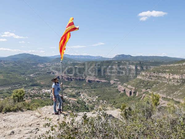 Kadın üst dağ bayrak güneş çocuk Stok fotoğraf © 2Design